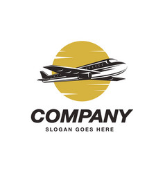 flying airplane logo icon template vector image