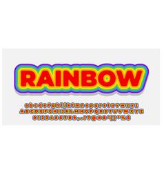 Font style 3d effect rainbow color design template vector