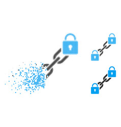 Fragmented dotted halftone lock blockchain icon vector