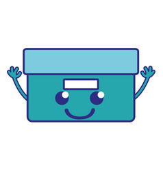 Full color happy box archive kawaii with arms vector