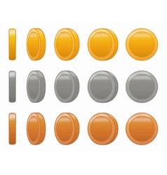 Game coin animation set vector