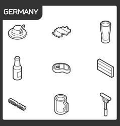 germany outline isometric icons vector image