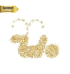 Gold glitter icon of pee isolated on vector