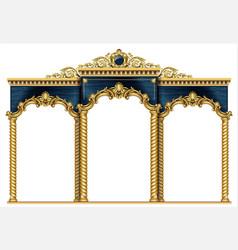 Golden arch portal baroque blue gold arcade vector