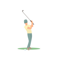 Golf player swinging club over head isolate on vector