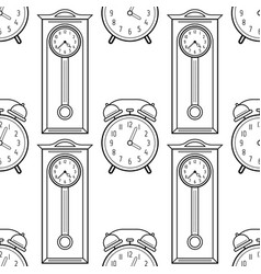 Grandfather clock and alarm clock black and white vector