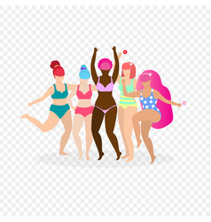 Group of happy multiracial and multicultural women vector