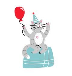 happy birthday card cartoon cat vector image
