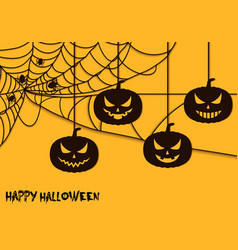 Happy halloween spider net theme pumpkins silhouet vector