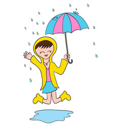 happy under the rain vector image