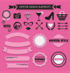 hipster feminine design elements set on pink dots vector image