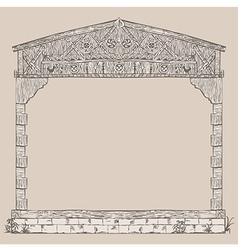 House timber framing frame vector