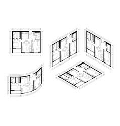 Isometric architect blueprint plan home vector