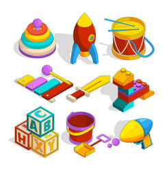 Isometric preschool children toys vector