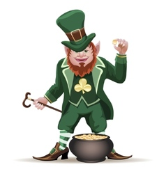 Joyful leprechaun with a cauldron vector image