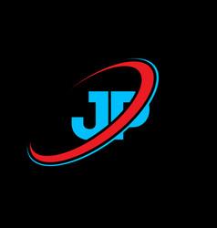 jp j p letter logo design initial letter jp vector image