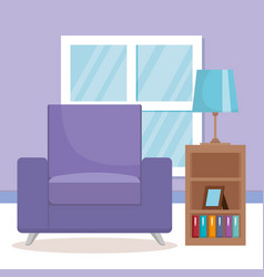 living room scene icons vector image