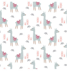 Llama cute animal seamless pattern vector