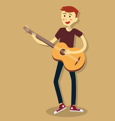 man play acoustic guitar vector image
