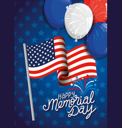 Memorial day honoring all who served with flag vector