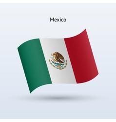 Mexico flag waving form vector