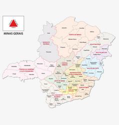 Minas gerais administrative map with flag vector