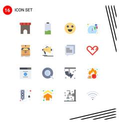 Modern set 16 flat colors pictograph chest vector