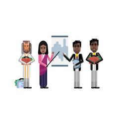 multiethnic business team doing presentation vector image