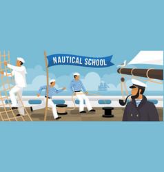 Nautical school sailboat flat banner vector