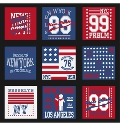 New york typography fashion set t-shirt vector