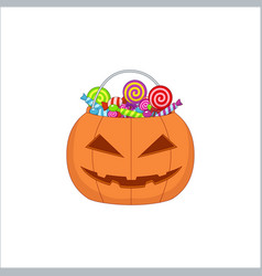 Orange pumpkin bag with sweets for halloween vector