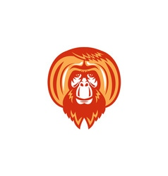 Orangutan Bearded Front Retro vector