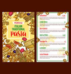 pasta italian restaurant menu template vector image