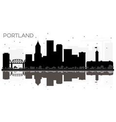portland city skyline black and white silhouette vector image