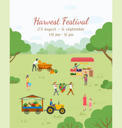 Postcard harvest festival fair food vector