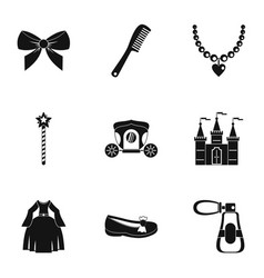 princess fairy tail icon set simple style vector image