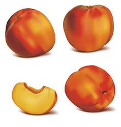 realistic detailed 3d fresh peach set vector image