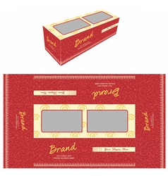 Red floral cake box vector