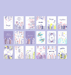 romantic greeting cards set trendy cards vector image