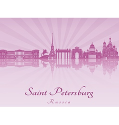 Saint Petersburg skyline in purple radiant orchid vector image