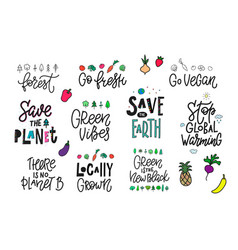 Save the planet earth vegan print quote lettering vector
