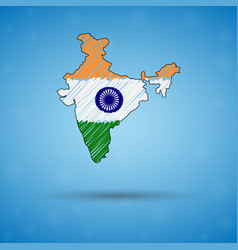 Scribble map india sketch country map for vector