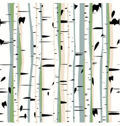 seamless artistic forest birches vector image
