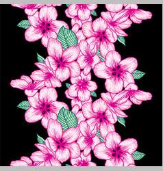 Seamless floral pattern apple bloom dark vector