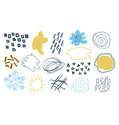 set hand drawn creative elementsabstract vector image