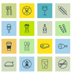 Set of 16 eating icons includes chicken fry no vector