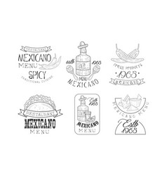 Set of original mexican logo templates vector