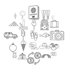 shore icons set outline style vector image