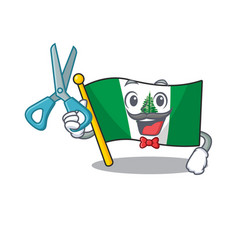 Smiley funny barber flag norfolk island cartoon vector
