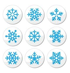 Snowflakes Christmas icons set vector image
